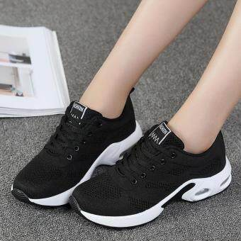 New Trendy Women Sneakers Fly Weave Breathable Women Running ShoesSoft Non-Slip Sole Womens Trainers Outdoor Sports JoggingShoes(black)