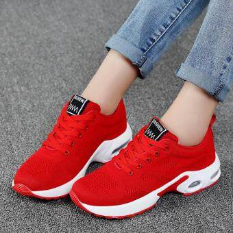 New Trendy Women Sneakers Fly Weave Breathable Women Running ShoesSoft Non-Slip Sole Womens Trainers Outdoor Sports JoggingShoes(red)