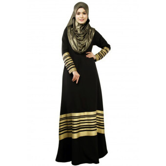 Harga New Women Muslim Maxi Dress Stripes Zipper Long Sleeves AbayaKaftan Islamic Robe Long Dress Black