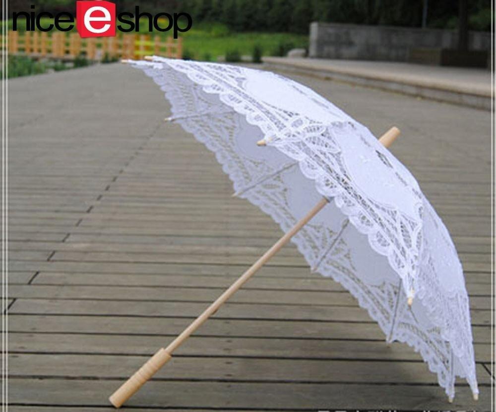 Niceeshop handmade embroidery lace parasol umbrellas for bridal niceeshop handmade embroidery lace parasol umbrellas for bridal bridesmaid wedding decorationwhite malaysia junglespirit Gallery