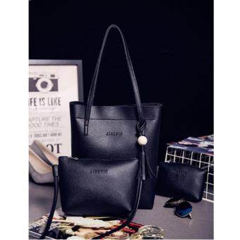 NiCol Korean Style Women PU Leather 3 in 1 Cross Body Large Capacity Shopping Bag (Black)