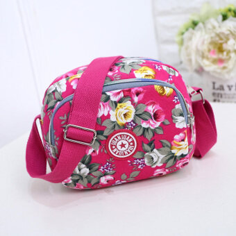 Nylon canvas mommy bag phone purse Korean-style messenger bag (Purple cross)