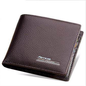 Harga OMC Genuine Cow Leather Men Wallet(0009-Brown)