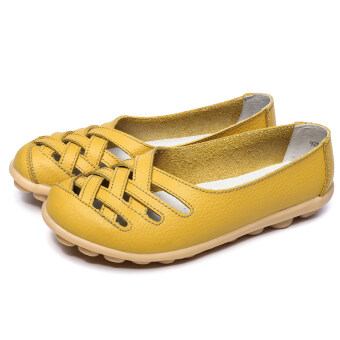 Harga Peas leather flat with hollow breathable mother shoes nurse shoes(Yellow)