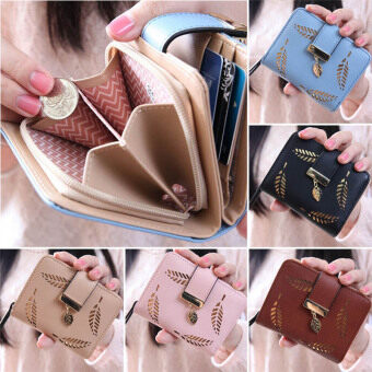 Harga PHOEBE New Fashion Female Short Paragraph Hollow Gold Leaf SmallPurse Large Capacity Wallets-pink