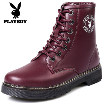 Harga PLAYBOY England autumn New style Dr. Martens women's shoes (Wine red color)