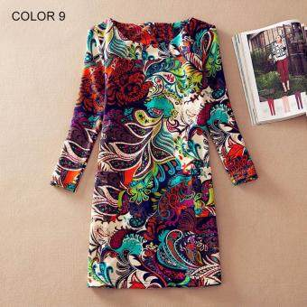 Harga Plus Size Women Clothing Spring Fashion Flower Print Women DressLadies Long Sleeve Casual Autumn Dresses Clothing