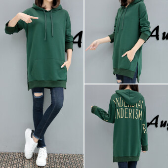 Plus-sized Women's fat mm autumn dress New style Harajuku hoodie female spring and autumn in the long section fat sister hedging Top thin jacket (Green)