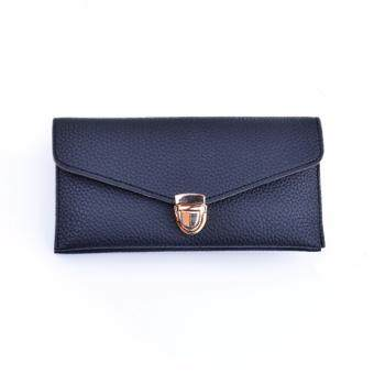 Polly Molly Trendy Buckle Multipurpose PU Leather Wallet 7001_Black
