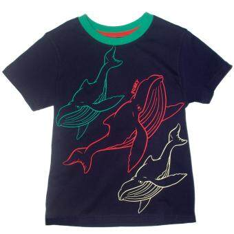 PONEY WHALE PRINT TOP (NAVY)