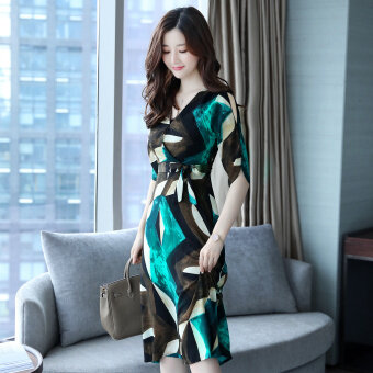 Harga Posey Mia summer Print V-neck waist chiffon dress (Collection gift) (Collection gift)