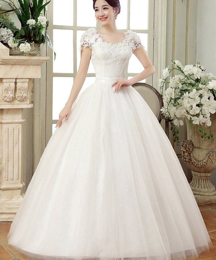 Princess style wedding dress lace white wedding gown | Lazada Malaysia
