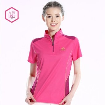 Harga Probe extension quick-drying T-shirt female short-sleeved summer sports quick-drying T-shirt breathable wicking quick-drying clothes collar Slim fit quick-drying clothes (Rose color)