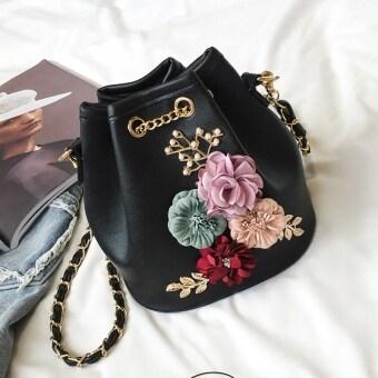 Qinglian Sweet 3D Flower Chain Mini Bucket Bag (Black) (Black)