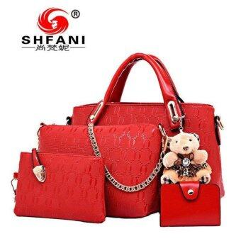 Harga ?Ready Stock?5 Pcs Set Crocodile Faux Tote Bags-Red