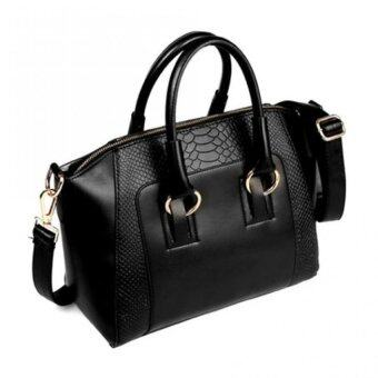 Realeos Korean Faux Crocodile Leather Shopper Handbag (ElegantBlack) - R332
