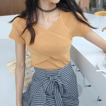 Retro Slimming effect Top summer New style temperament cross Slim fit wild v-neck short-sleeved ice silk sweater female T-shirt thin
