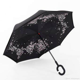 Harga Reverse Inverted Umbrella Rain Women Men Double Layer ReverseUmbrella C-Hook Hands Self Stand Inside Out Rain ProtectionCar(Sakura)