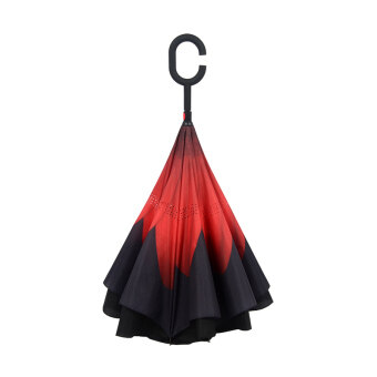 Reverse Stand take hands-free-long-handled umbrella excellent rainor shine umbrella (Blusher red (reverse umbrella)) (Blusher red(reverse umbrella))