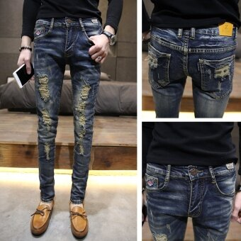 Harga Ripped Skinny Jeans Men Stretch Hole Jean Punk Style Jeans MenCasual Hip Hop Pants Denim Trousers