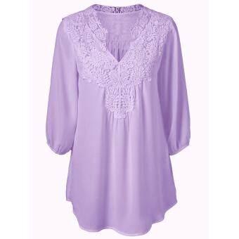 S-5XL Lace Blusa Summer Women Blouses Feminina Chiffon V-neckShirts 3/4 Sleeve Plus Size Loose Top Chemise Femme Shirts