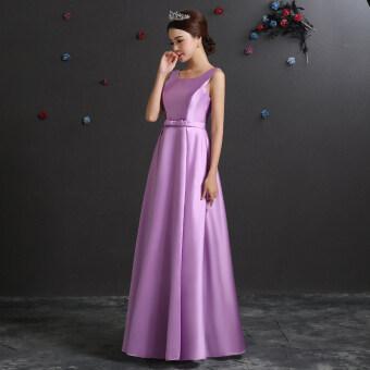 Satin autumn New style bridesmaid sisters dress bridesmaid dress (Light purple a paragraph) (Light purple a paragraph)