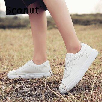 Seanut Fashion Sneakers Women Casual Sports Lace Up Shoes(White)