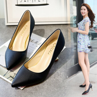 Sexy summer New style thin heeled shoes matte high-heeled shoes (Black) (Black)