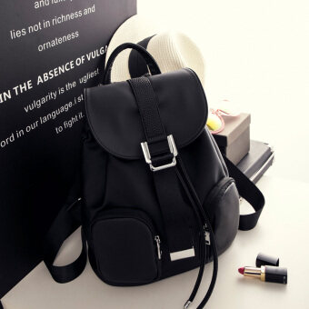 Shoulder Bag female Korean version of bags 2017 New Tide nylon Oxford canvas fashion wild casual Ms. small backpack (Black)