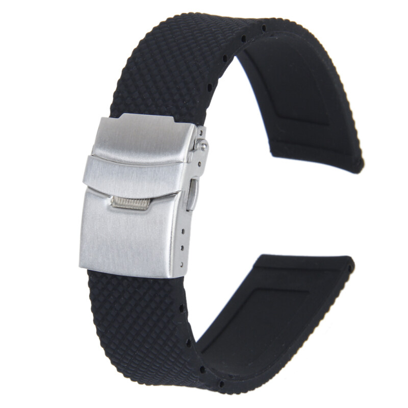 Silicone Rubber Watch Strap Deployment Buckle Waterproof 22mm Black Malaysia