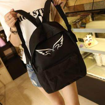 Harga Sinma Korea Angel Style Canvas Backpack (Black)