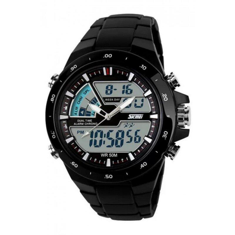 Skmei 1016 All Black Quartz Silicone Army Waterproof Sport Digital Analog Strap Watch(Int: One size) Malaysia