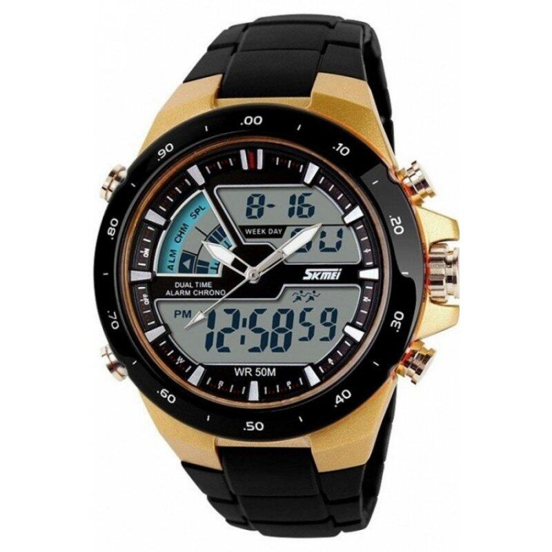 Skmei 1016 Quartz Silicone Army Waterproof Sport Strap Watch Black Gold(Int: One size) Malaysia