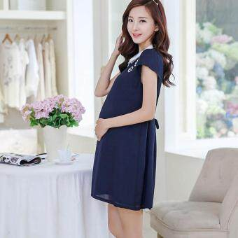 Small Wow Maternity Korean Turn-down Collar Solid Color chiffonAbove Knee Dress Dark Blue - 2