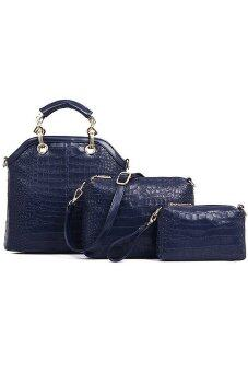 Soft Faux Crocodile Leather Bags Set of 3 Dark Blue color