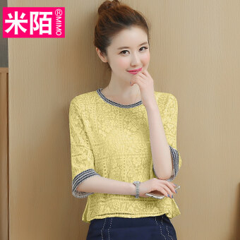 Soft versatile lace on the short sleeved shirt half-sleeve shirt chiffon shirt (Yellow) (Yellow)