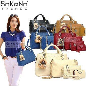 SoKaNo Trendz 5 Pcs Set Crocodile Faux Tote Bags- White