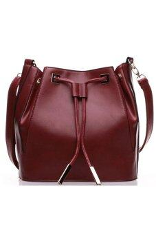SoKaNo Trendz BB01 Premium PU Leather Bucket Bag Wine Red