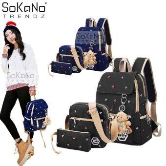 SoKaNo Trendz Korean Style SKN732 Canvas Backpack Set of 3- Black