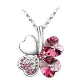 SoKaNo Trendz Lucky Leaf N04 Necklace With Australian Crystal- Pink