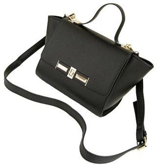 SoKaNo Trendz SKN608 Bat Design Crossbody PU Leather Bag- Black
