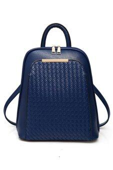 SoKaNo Trendz SKN736 Korean Style PU Leather Double Strap Backpack- Blue