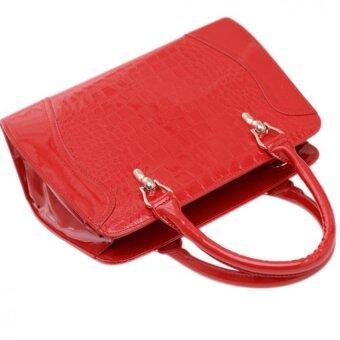 SoKaNo Trendz SKN810 Premium Faux Crocodile Design Top Handle Tote Bag- Red