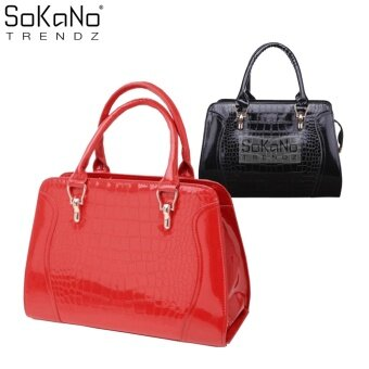 SoKaNo Trendz SKN810 Premium Faux Crocodile Design Top Handle Tote Bag- Red