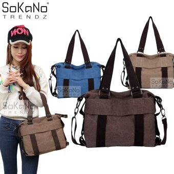 SoKaNo Trendz SKN813 Premium Canvas Woman 2 Way Tote Bag- Brown