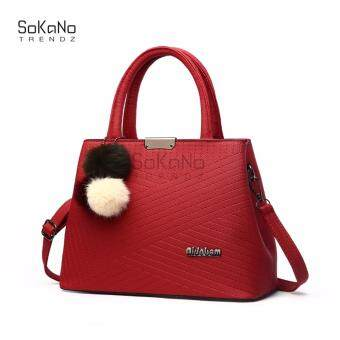 SoKaNo Trendz SKN827 Premium PU Leather Tote Bag- Red