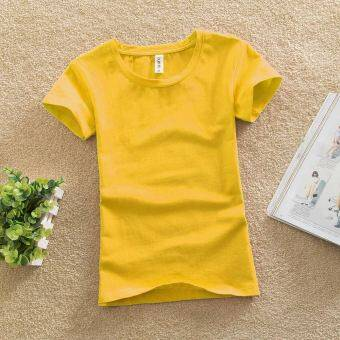 Solid color female Slim fit bottoming shirt New style Top (Lemon yellow) (Lemon yellow)