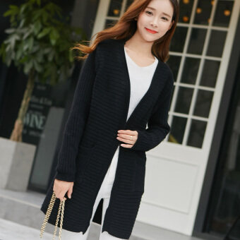 Song fei lai 2017 pocket spring new korean version of women's loosebig yards long cardigan sweater outside the ride tide (Black)