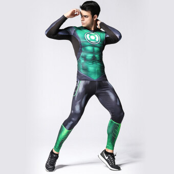 Sports men and long-sleeved slim fit compression Running clothing fitness clothing (Green Lantern man two-piece Sets) (Green Lantern man two-piece Sets)