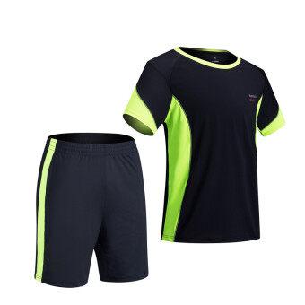 Sports suit men's I summer short sleeve Running clothing fitness short-sleeved shorts moisture wicking T-shirt shorts pants (Green)